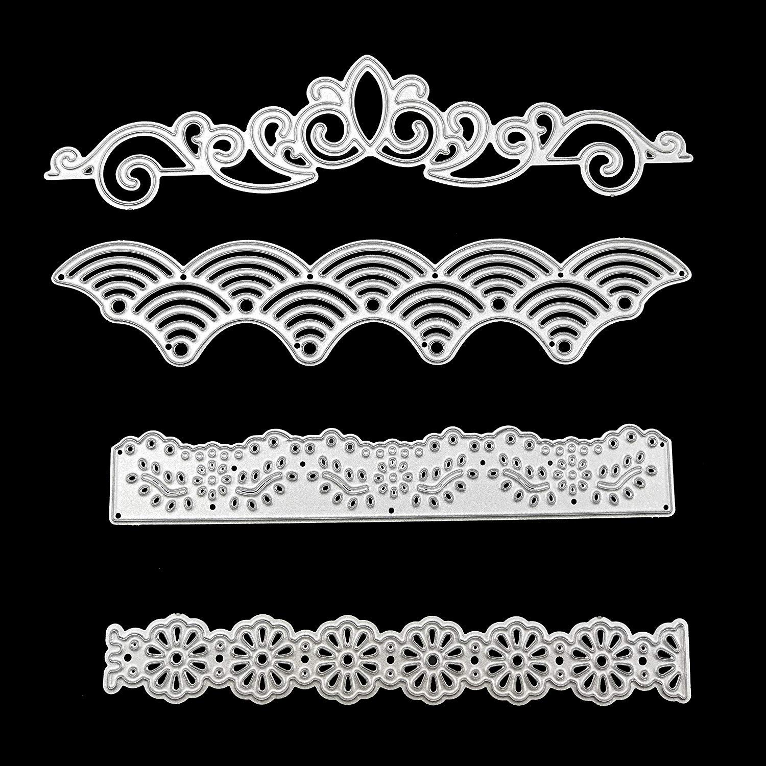 4 Pcs Metal Embossing Lace Cutting Dies Stencils Scrapbooking Dies Cuts for DIY Crafts New Year, Wedding, Valentine's, Present Greeting Cards Albums Decoration Flower by SKYCOOOOL Valentine' s
