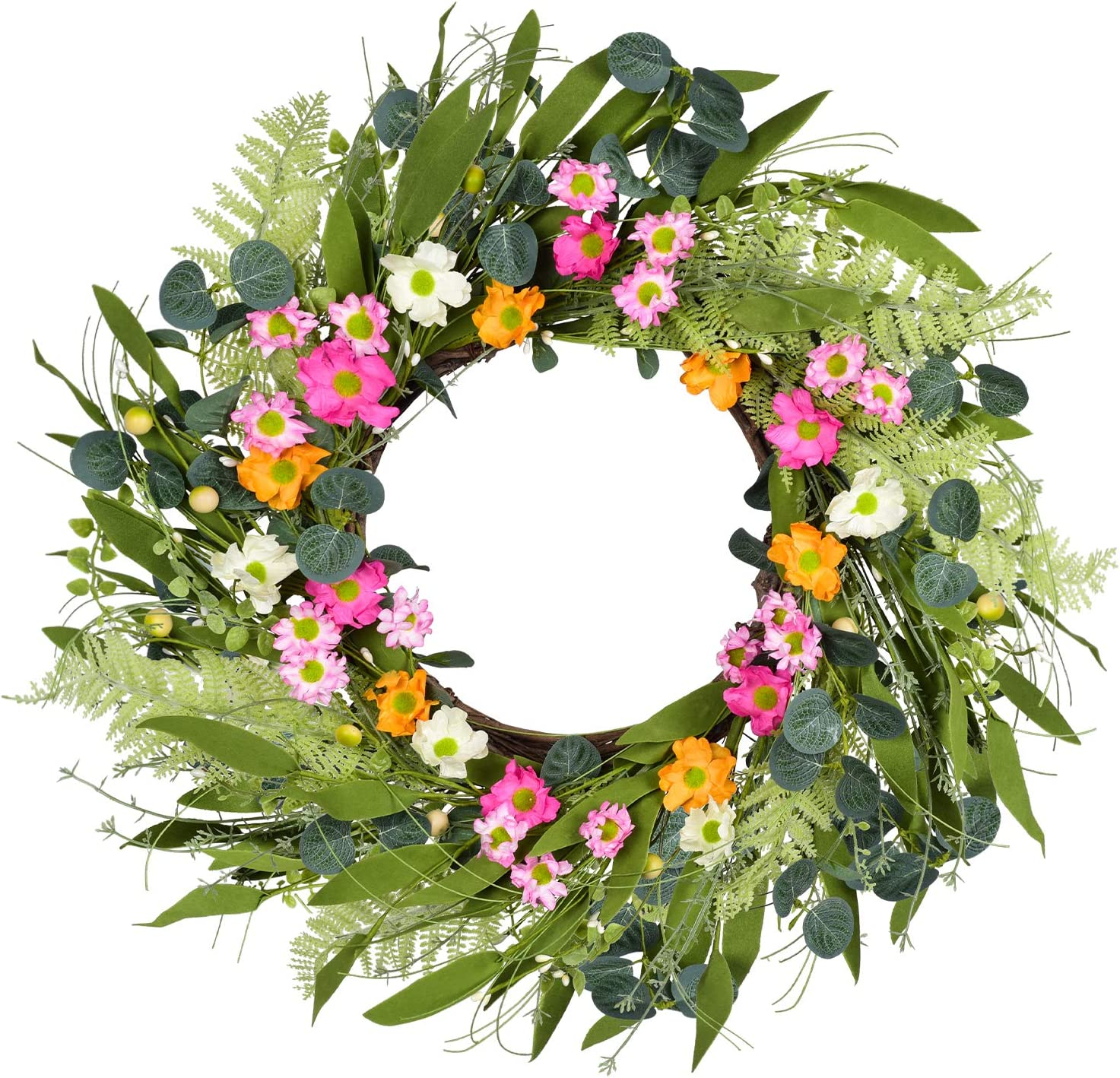 Wofair Artificial Daisy Flower Wreath, 20