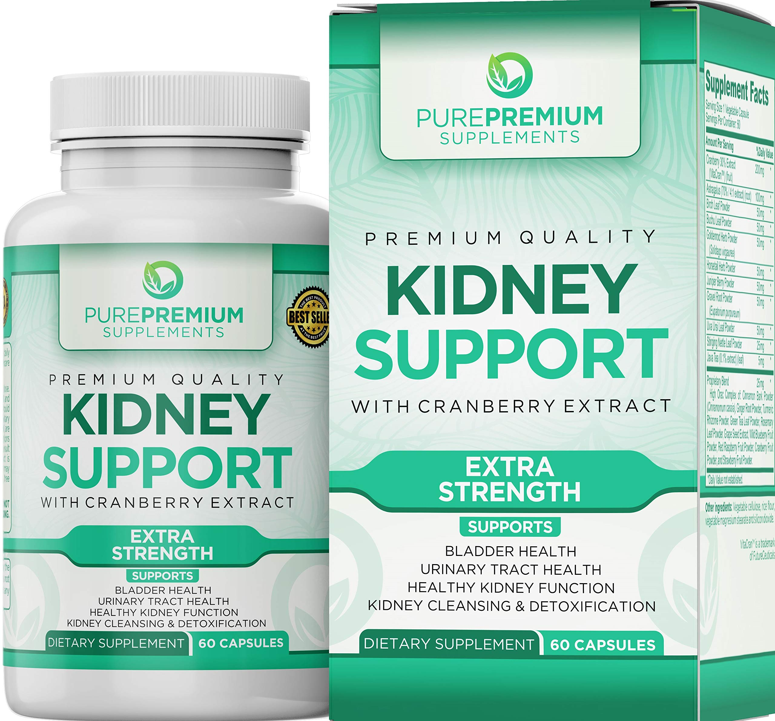 Premium Kidney Support Supplement by PurePremium (Kidney Cleanse Supplement) Potent Herbal Ingredients for Urinary Tract and Bladder Health - Cranberry Extract, Astragalus and Uva Ursi Leaf - 60 Caps by PurePremium Supplements