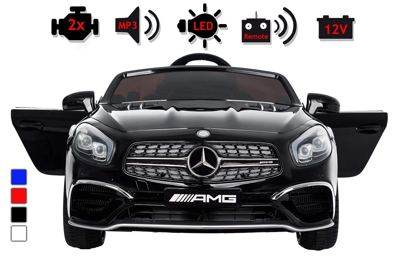 Schwarz Kinderelektroauto - Mercedes SL 65 AMG - 2 Motoren - Kinderfahrzeug Lizenz + Fernbedienung -Schwarz