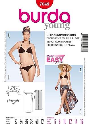 Burda Damen Schnittmuster 7048-Triangel Bikini &Sarong Größen: 6-16 ...
