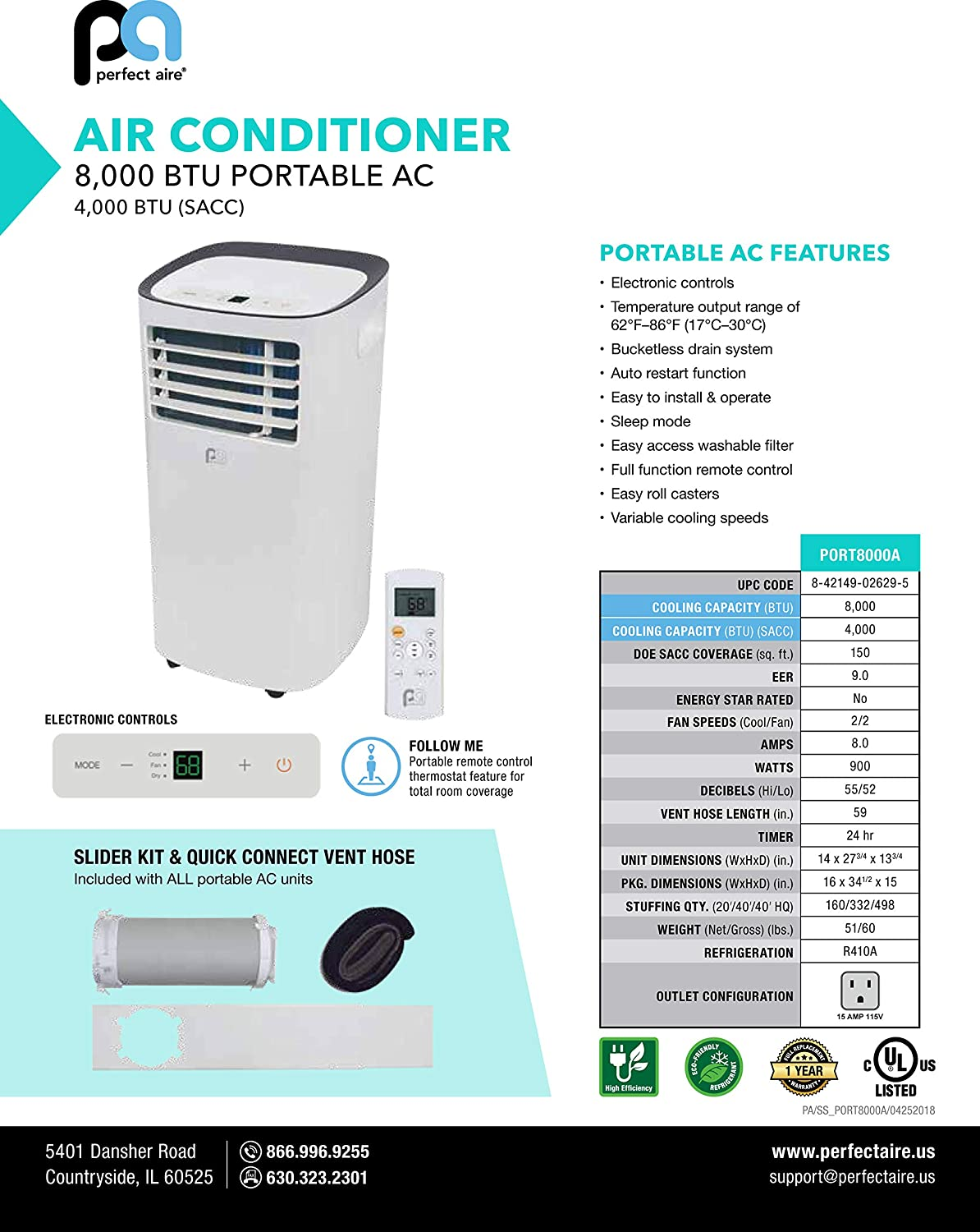 Perfect Aire PORT8000 8,000 BTU Portable Air Conditioner with Remote  Control, EER 8 9, 300-350 Sq  Ft  Coverage