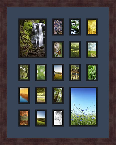 Art to Frames Double-Multimat-396-119//89-FRBW26061 Collage Frame Photo Mat Double Mat with 19-2x3 Openings and Espresso Frame