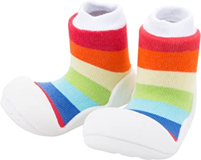 BigToes Attipas Baby First Walker Shoes Large, Rainbow Yellow