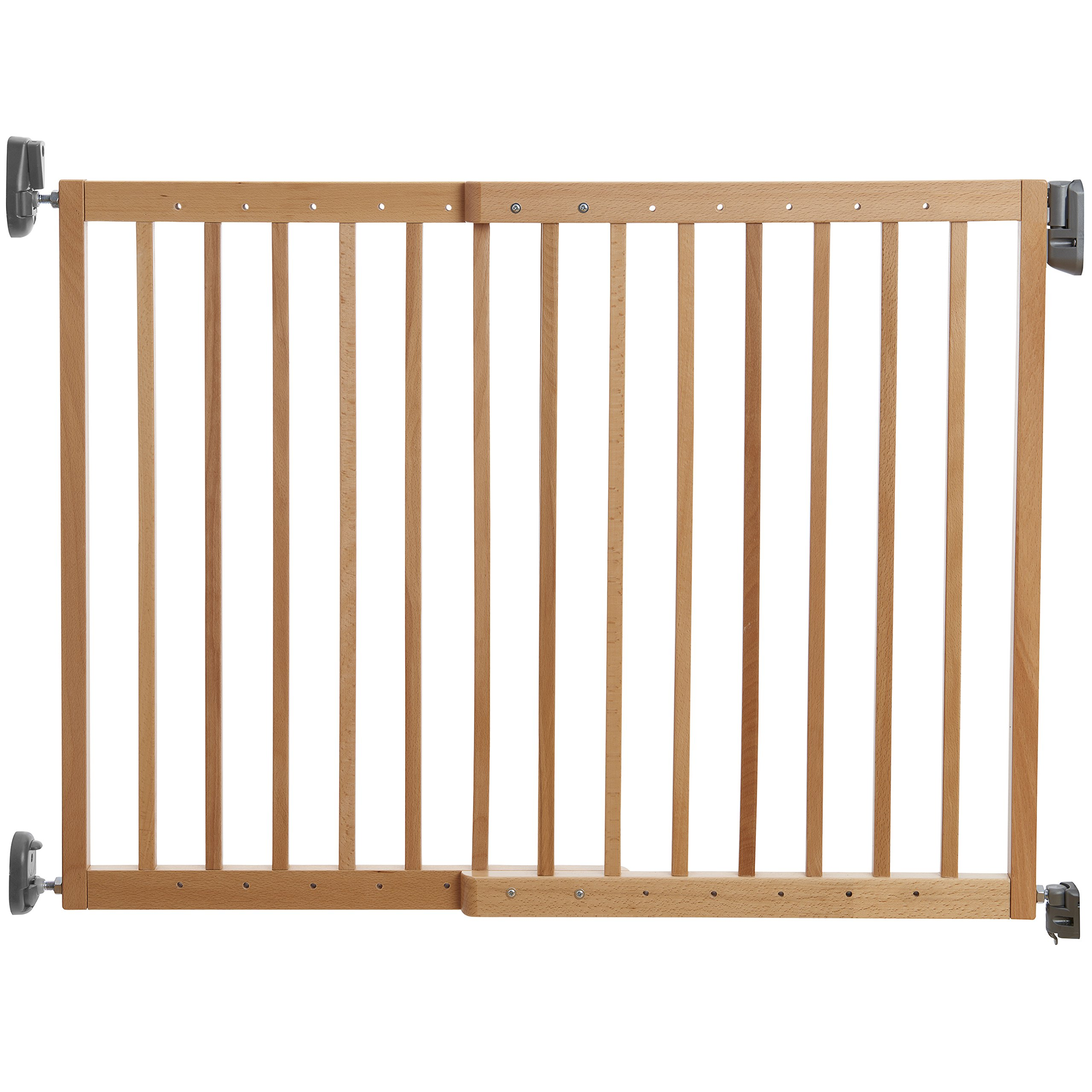 Munchkin Push to Close Hardware Baby Gate, Extends 28''- 46.5'' Wide, Light Wood, Model MK0016