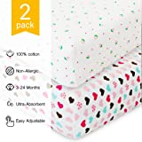 Crib Sheets for Baby - 2 Unisex Bedding Sheet Set - 100% Organic Fitted Jersey Cotton - Bed Mattress Cover - For Boys and Girls - Infant & Toddler - Hearts & Berries - Great Baby Shower Gift