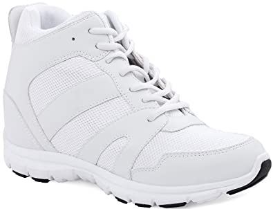 23bb2be6fa8ef CALTO Men's Invisible Height Increasing Elevator Shoes - White Leather/Mesh  Lace-up Sporty Trainers - 4 Inches Taller - G3329