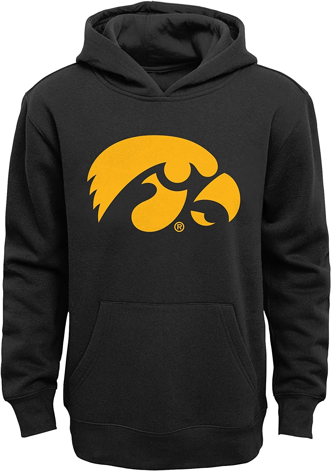 5-6 Black NCAA by Outerstuff NCAA Iowa Hawkeyes Kids Primary Logo Fleece Hoodie Kids Medium