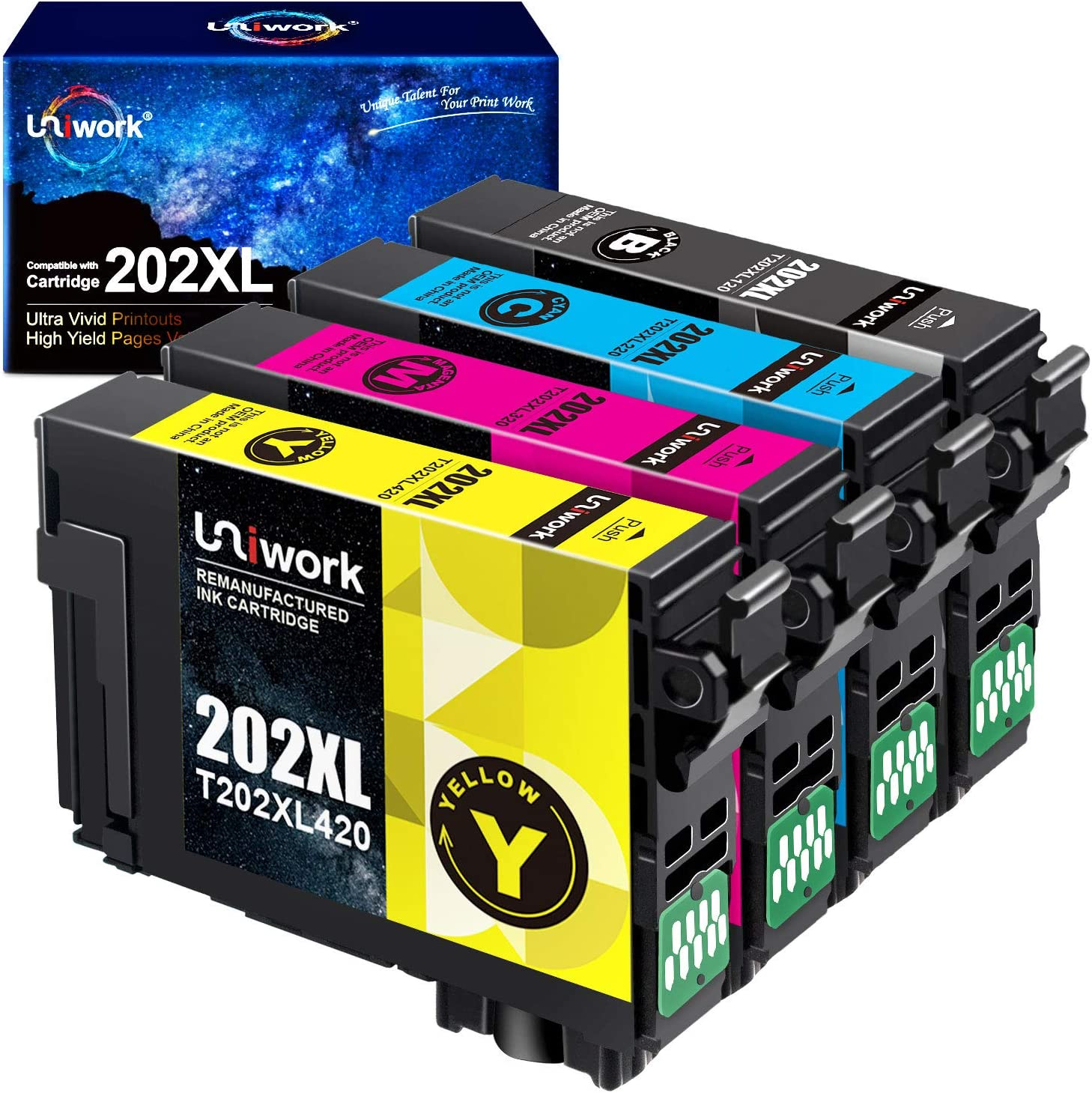 Uniwork Remanufactured Ink Cartridge Replacement for Epson 202 202XL T202XL T202 to use for Workforce WF-2860 Expression Home XP-5100 Printer (1 Black, 1 Cyan, 1 Magenta, 1 Yellow, 4 Pack)