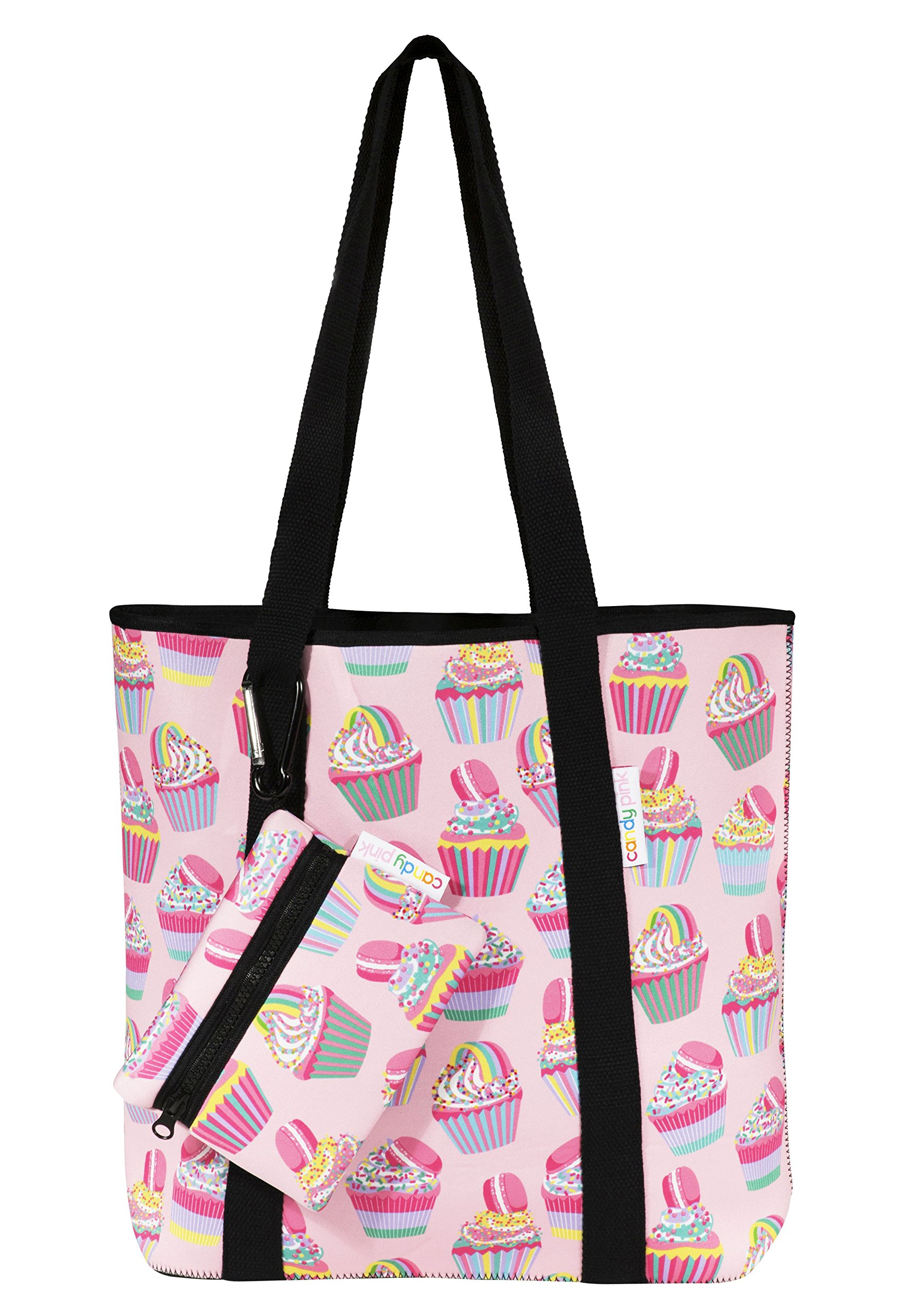 Candy Pink Neoprene Tote Bag (One_Size, Cupcake)