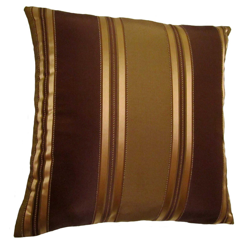 Amazon.com: 19x19 Bronze, Gold, and Brown Stripes Decorative Throw ...