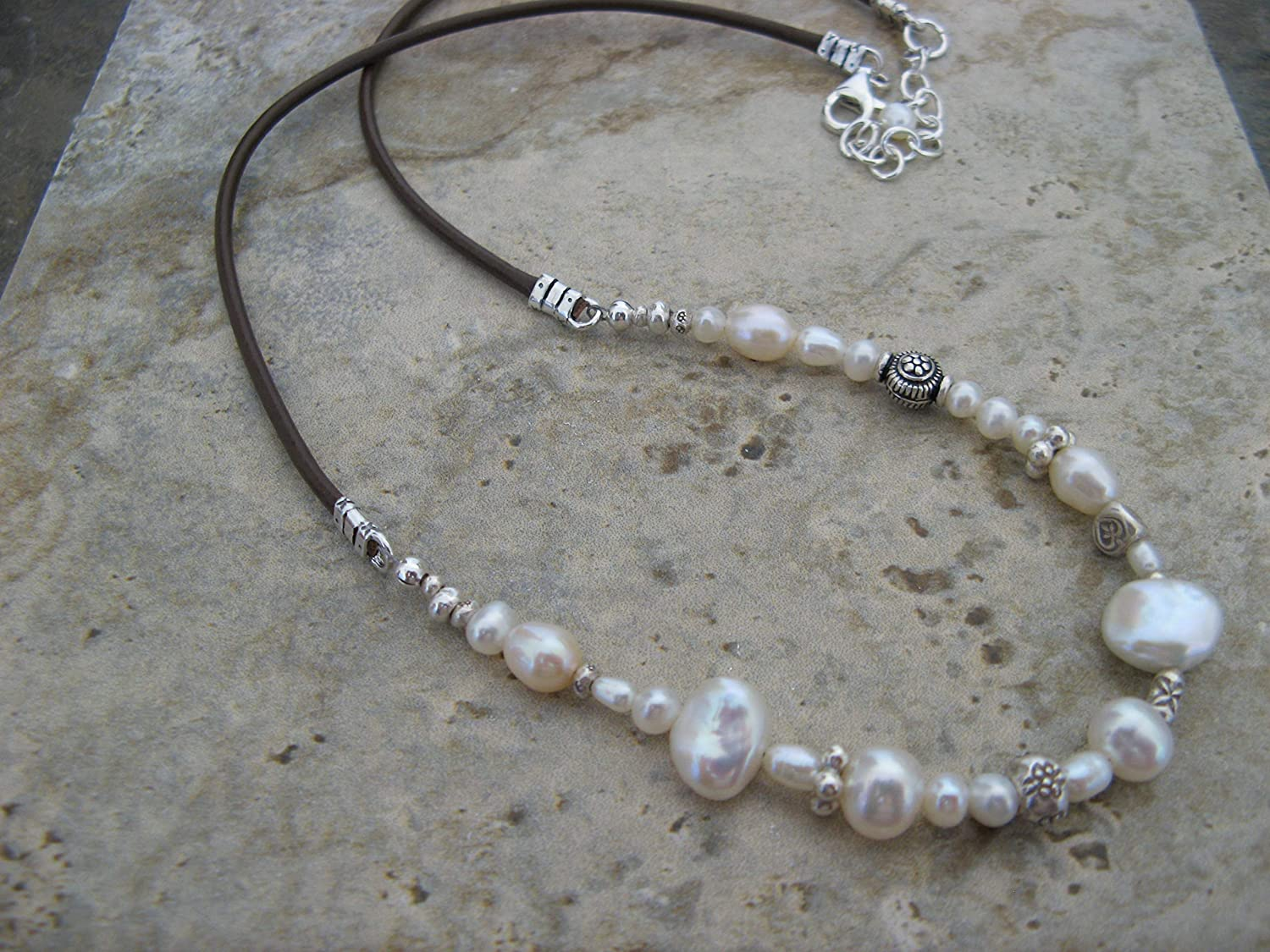 Cultured Pearl Leather Sterling Silver Necklace Boho Artisan Jewelry