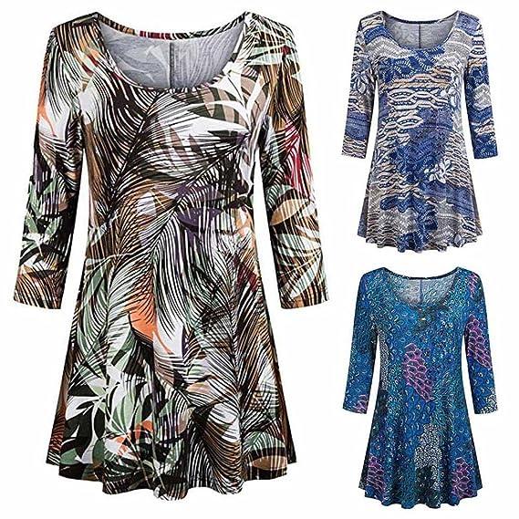 Longra✓ Verano y primavera y otoño de moda para mujer Casual estampado floral camisas 3