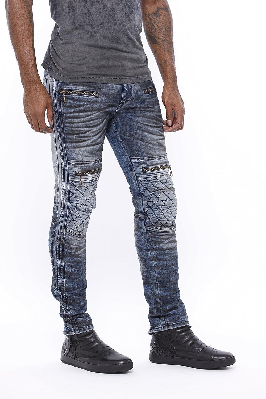 Amazon Com Robin Jean Hombre Moto Racer Jeans En D Wash Negro 38 Clothing