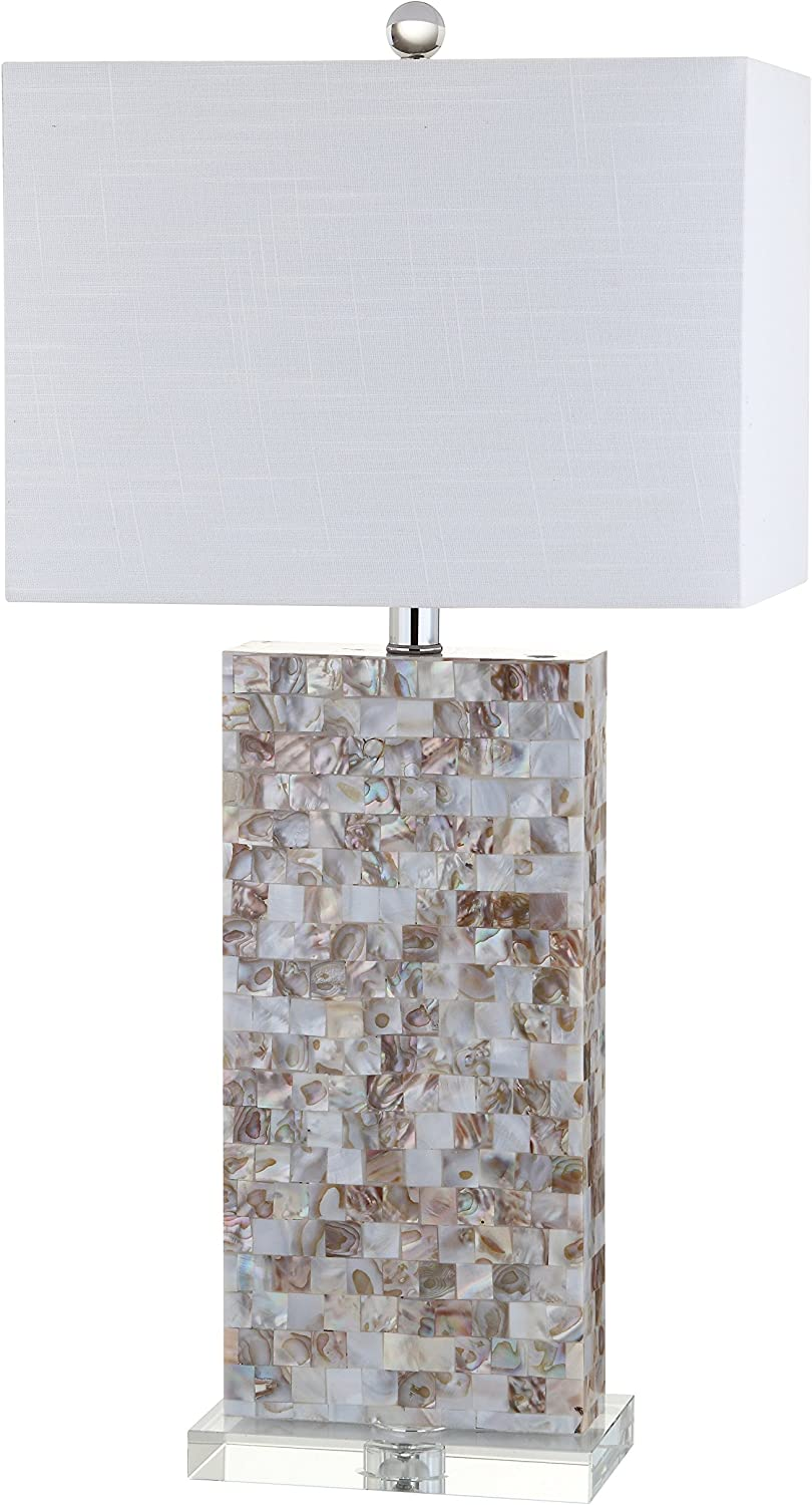 """JONATHAN Y JYL1059A Cannon 29"""" Seashell and Crystal LED Table Lamp Coastal,Contemporary,Transitional for Bedroom, Living Room, Office, College Dorm, Coffee Table, Bookcase, Natural/Clear"""