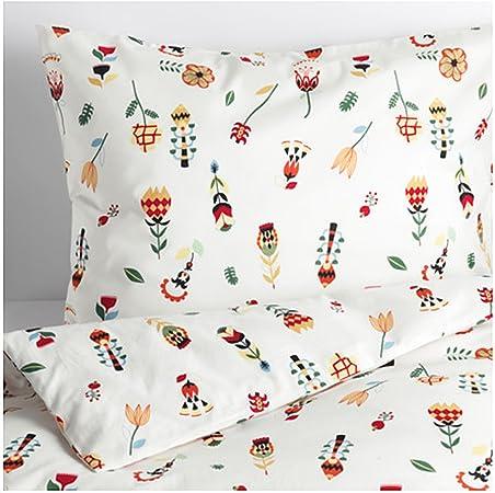 IKEA ROSENFIBBLA Bettwäscheset geblümt 2-teilig 100/% Baumwolle 140x200 /& 80x80cm