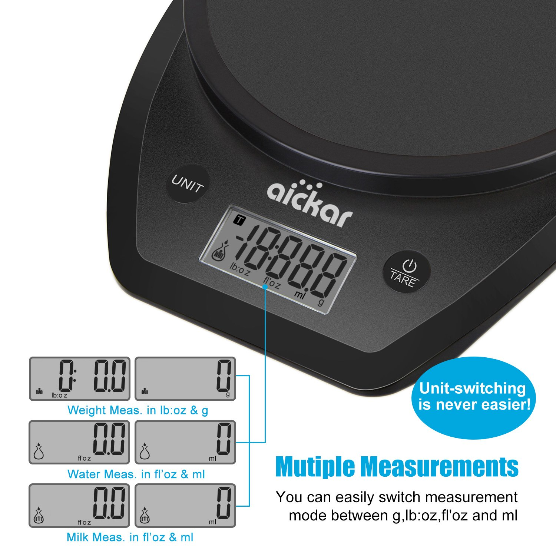 Aickar - Báscula de alimentación multifunción, báscula digital de nutrición personal, báscula de cocina para pesar alimentos, báscula para hornear con ...