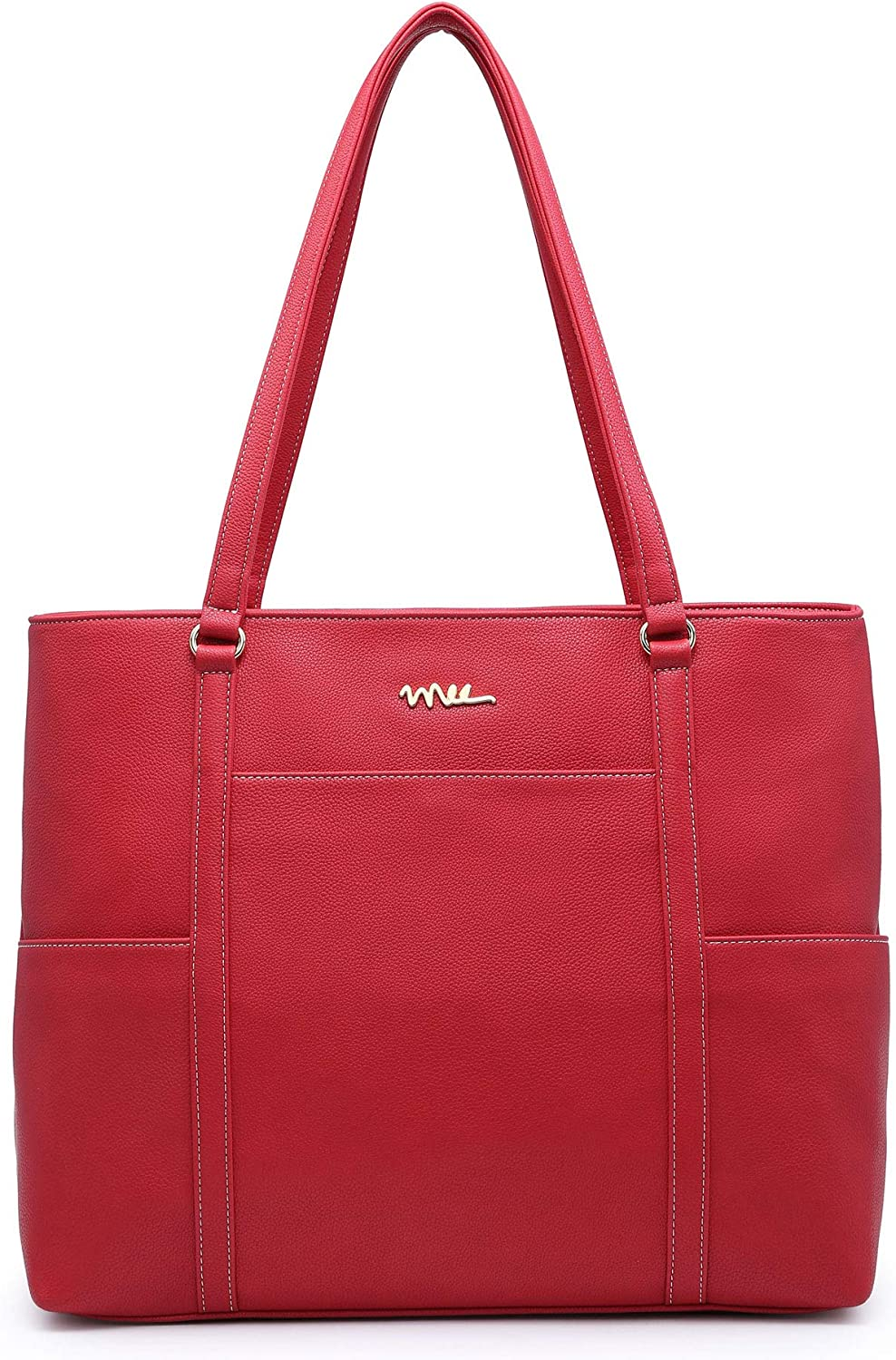 NNEE Classic Laptop Leather Tote Bag for 15 15.6 inch Notebook Computers Travel Carrying Bag with Smart Trolley Strap Design - Red