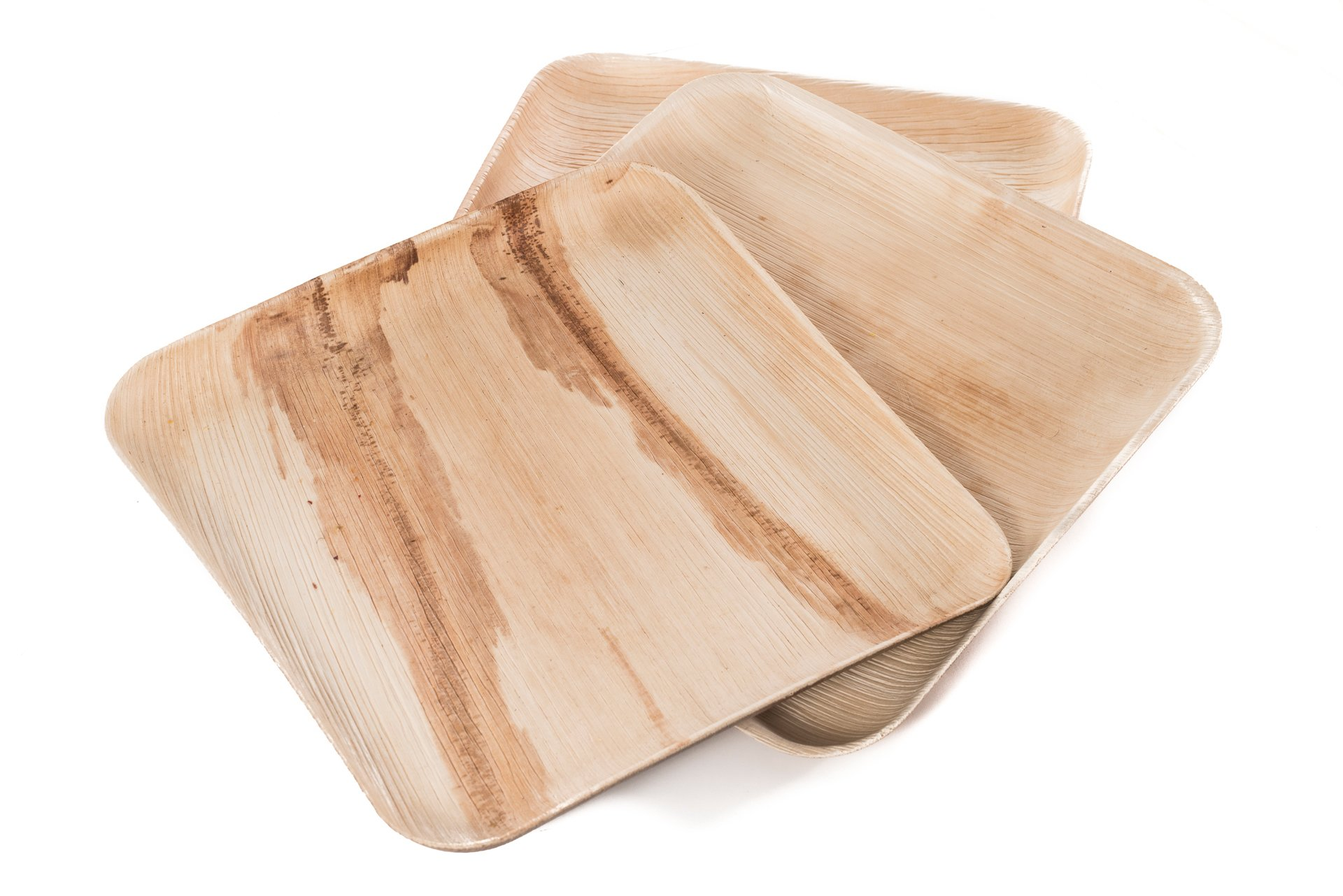 """9"""" Square Palm Leaf Plates - Pack of 25 - Disposable, Compostable, Natural, Tree Free, Sustainable, Eco-Friendly - Fancy Rustic Party Dinnerware and Utensils Like Wood, Bamboo by Clean Earth Goods (Image #4)"""