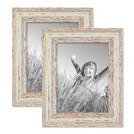 Amazonde Photolini 2er Set Vintage Bilderrahmen 15x20 Cm Weiss