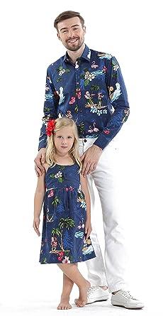 e130ec7a8876 Matching Father Daughter Hawaiian Luau Outfit Christmas Men Shirt Girl Dress  Navy Santa Flamingo S-