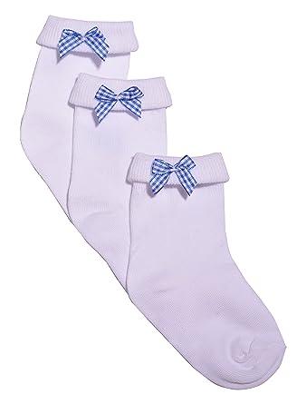 b5a8873931da1 Girls Bow Ankle Socks School Socks Red Bow Blue Bow Socks White 3 Pairs:  Amazon.co.uk: Clothing