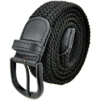 Braided Stretch Elastic Belt with Pin Oval Solid Black Buckl