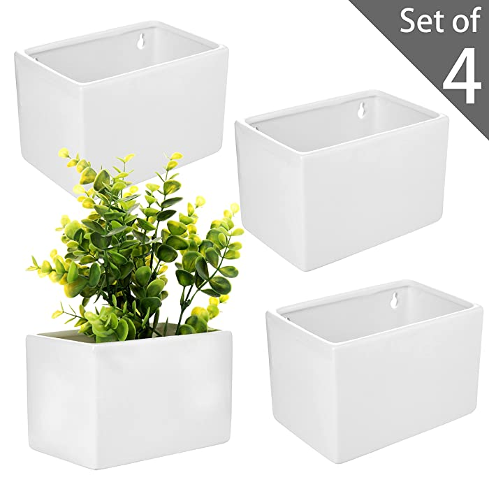 MyGift Modern White Ceramic Wall Hanging Succulent & Herb Planter Box, Set of 4