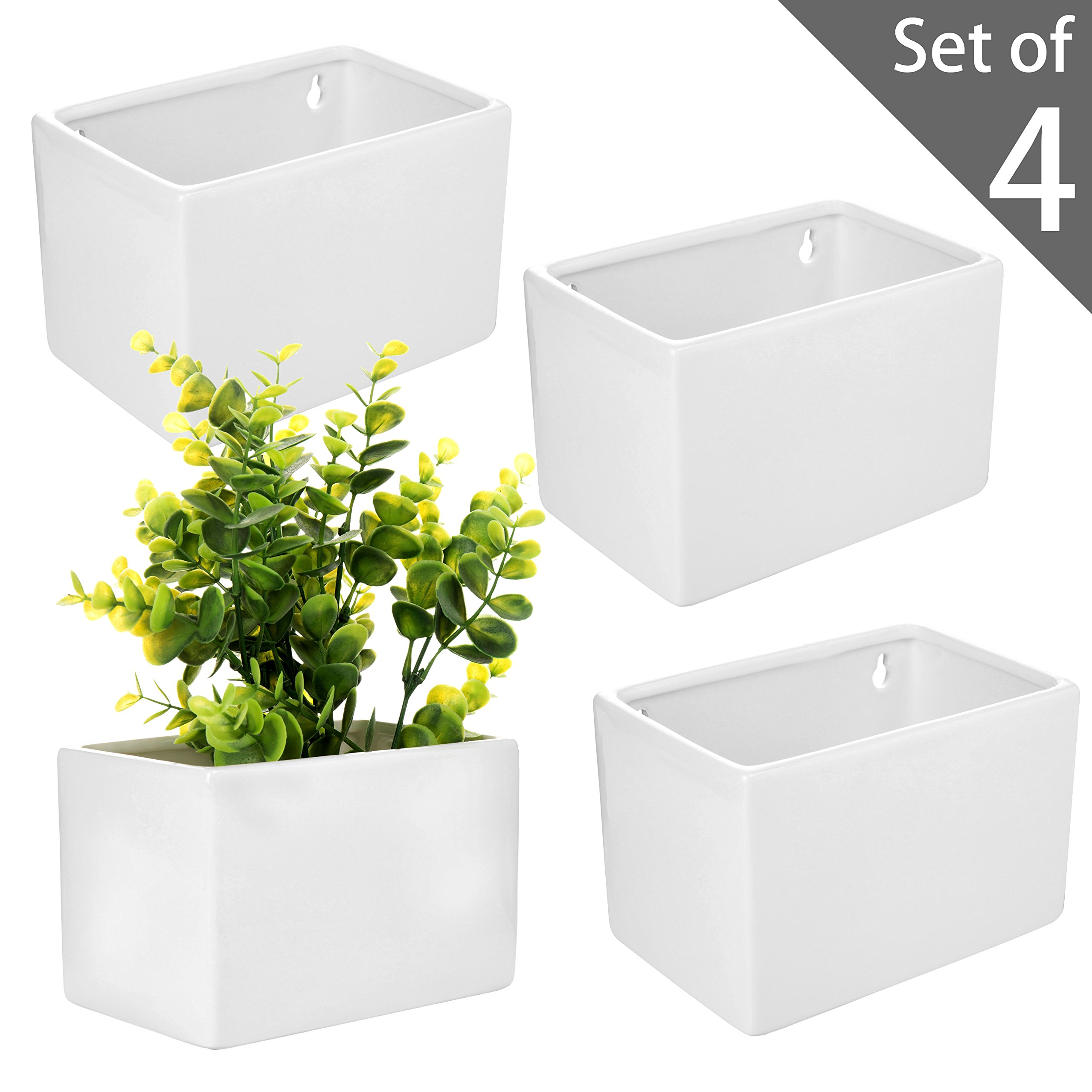 MyGift Modern White Ceramic Wall Hanging Succulent & Herb Planter Box, Set of 4