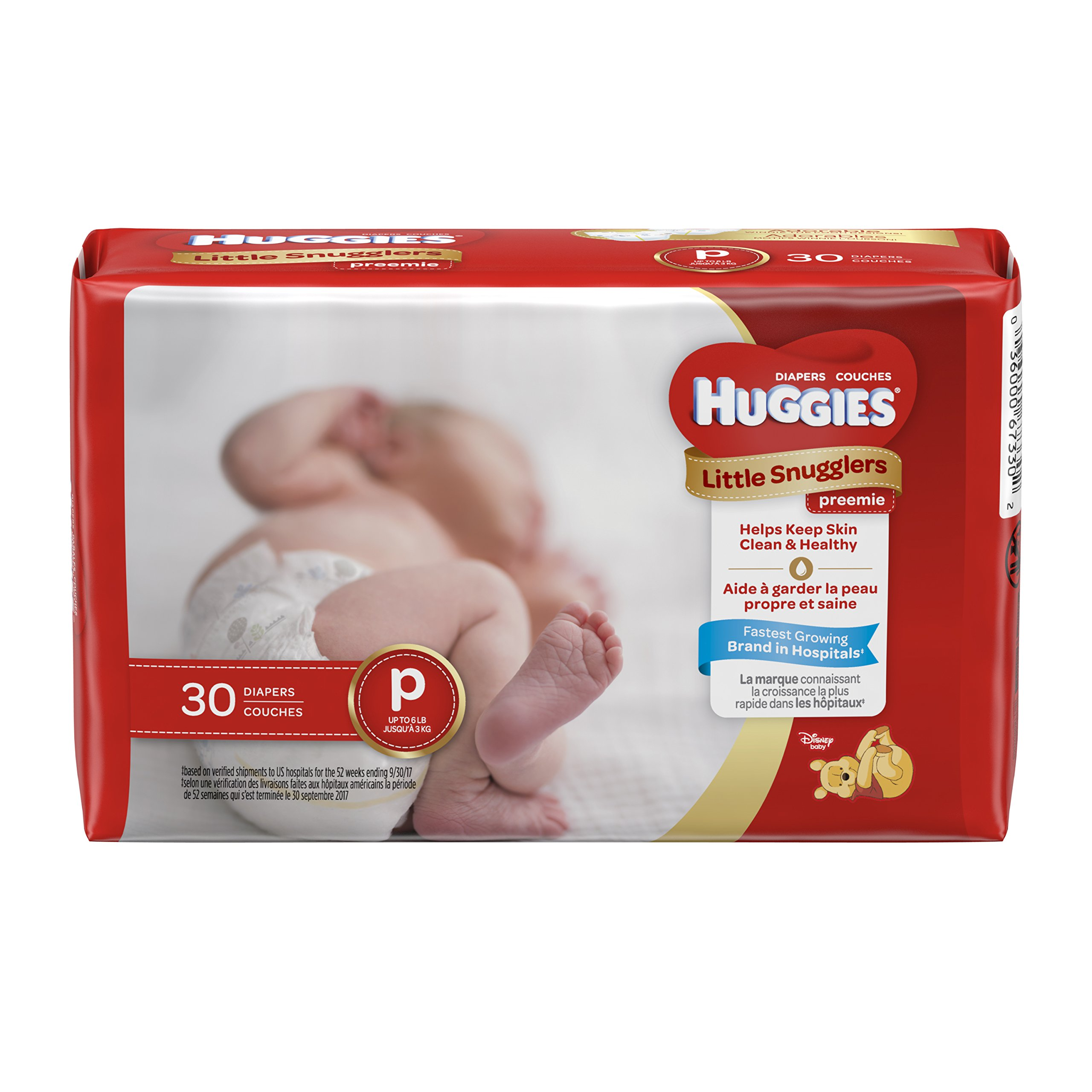 HUGGIES Little Snugglers Baby Diapers, Size Preemie, 30 Count, CONVENIENCE PACK (Packaging