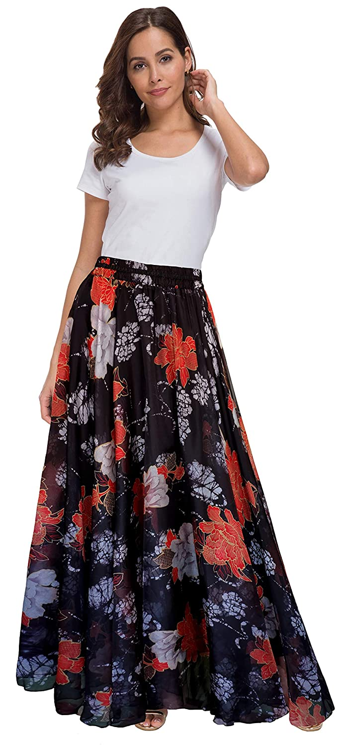 fa313eaa9 Afibi Women Floral Print Pleated Vintage Chiffon Long Maxi Skirt at Amazon  Women's Clothing store: