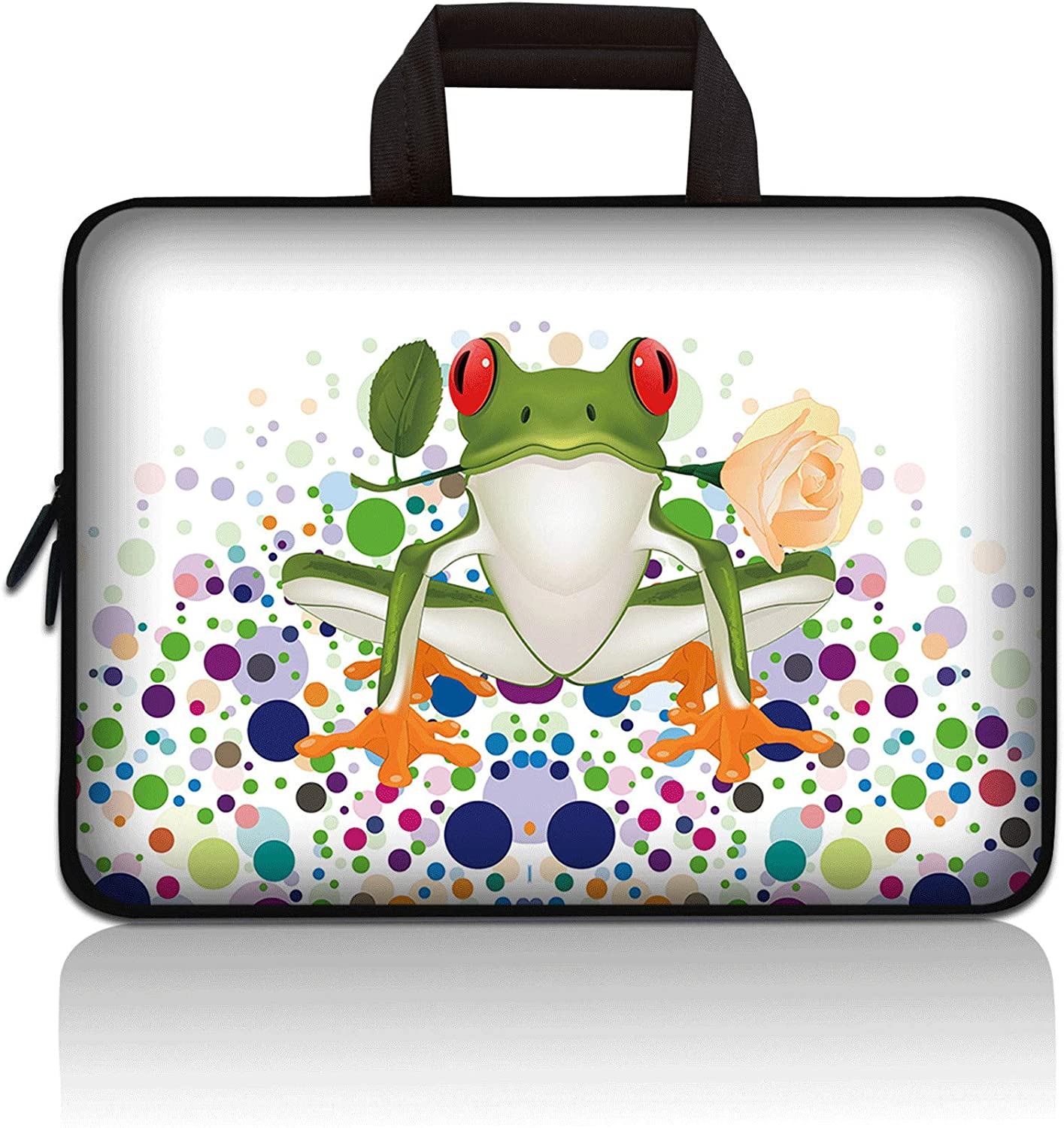 11 11.6 12 12.1 12.5 inch Laptop Carrying Bag Chromebook Case Notebook Ultrabook Bag Tablet Cover Neoprene Sleeve Compatible with Apple MacBook Air Samsung Google Acer HP DELL Lenovo Asus (Cute Frog)