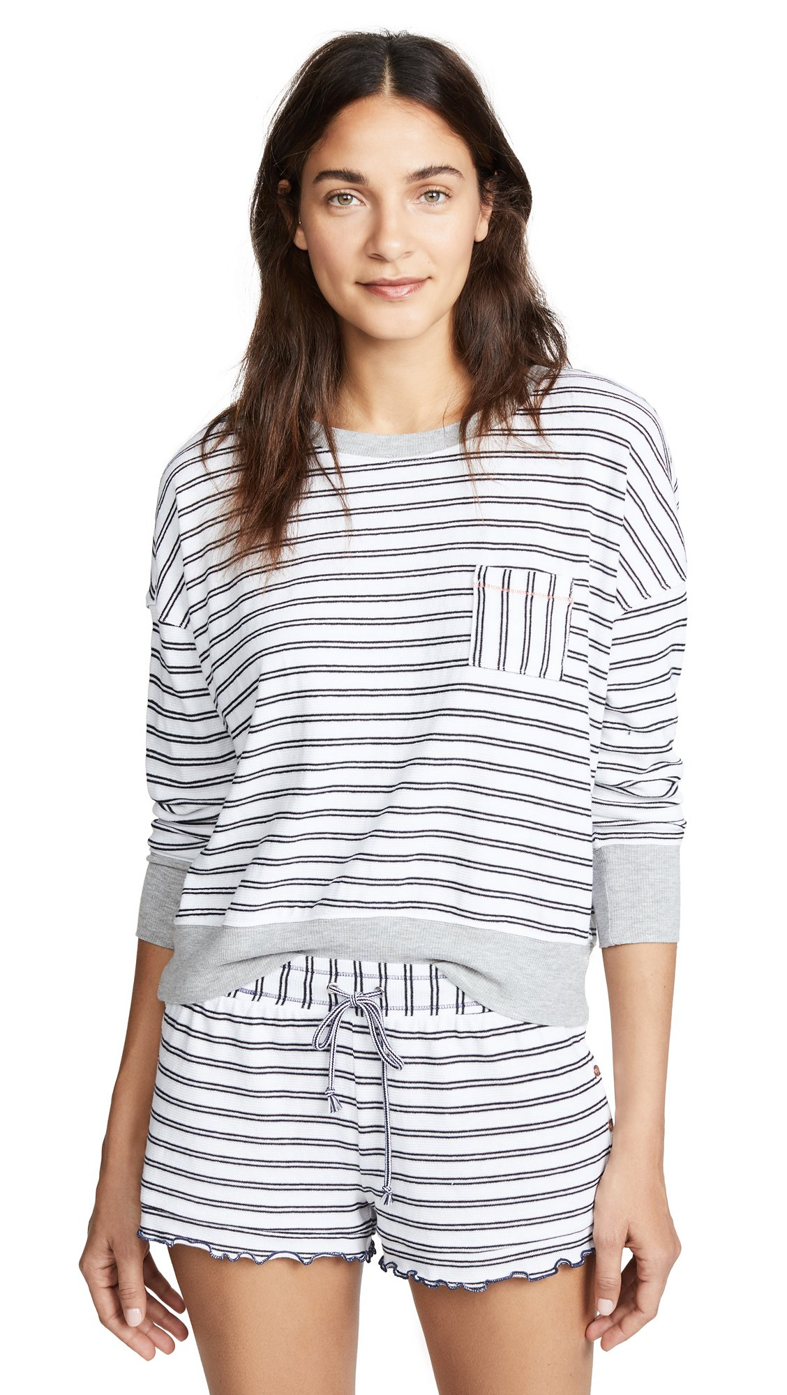 Splendid Women's PJ Shirt, Pacific Double Stripe, Medium