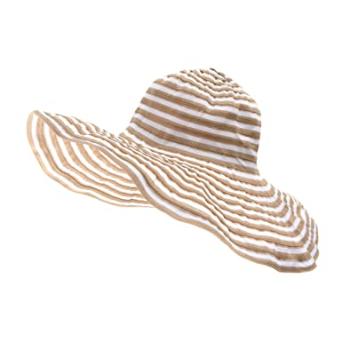c2f13a7a036 WITHMOONS Capelines Women Foldable Light Swirl Striped Floppy Hat Beach Cap  NC9718 (Beige)
