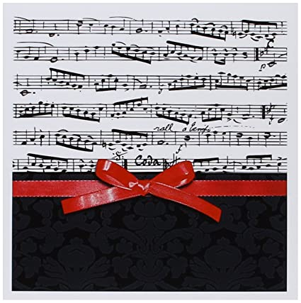 3drose musical notes with 2d red ribbon bow graphic piano sheet music musician gifts greeting cards