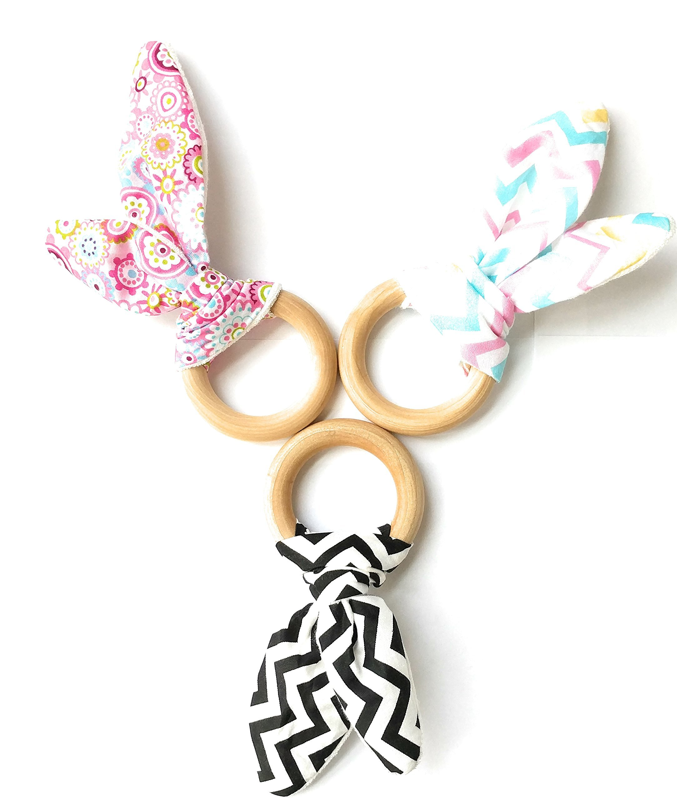 ZuzaMilo Organic Wooden Bunny Ears Ring Teether and Sensory Toy BPA Free, Natural Teething Relief for Babies, Awesome Idea 3 Pack