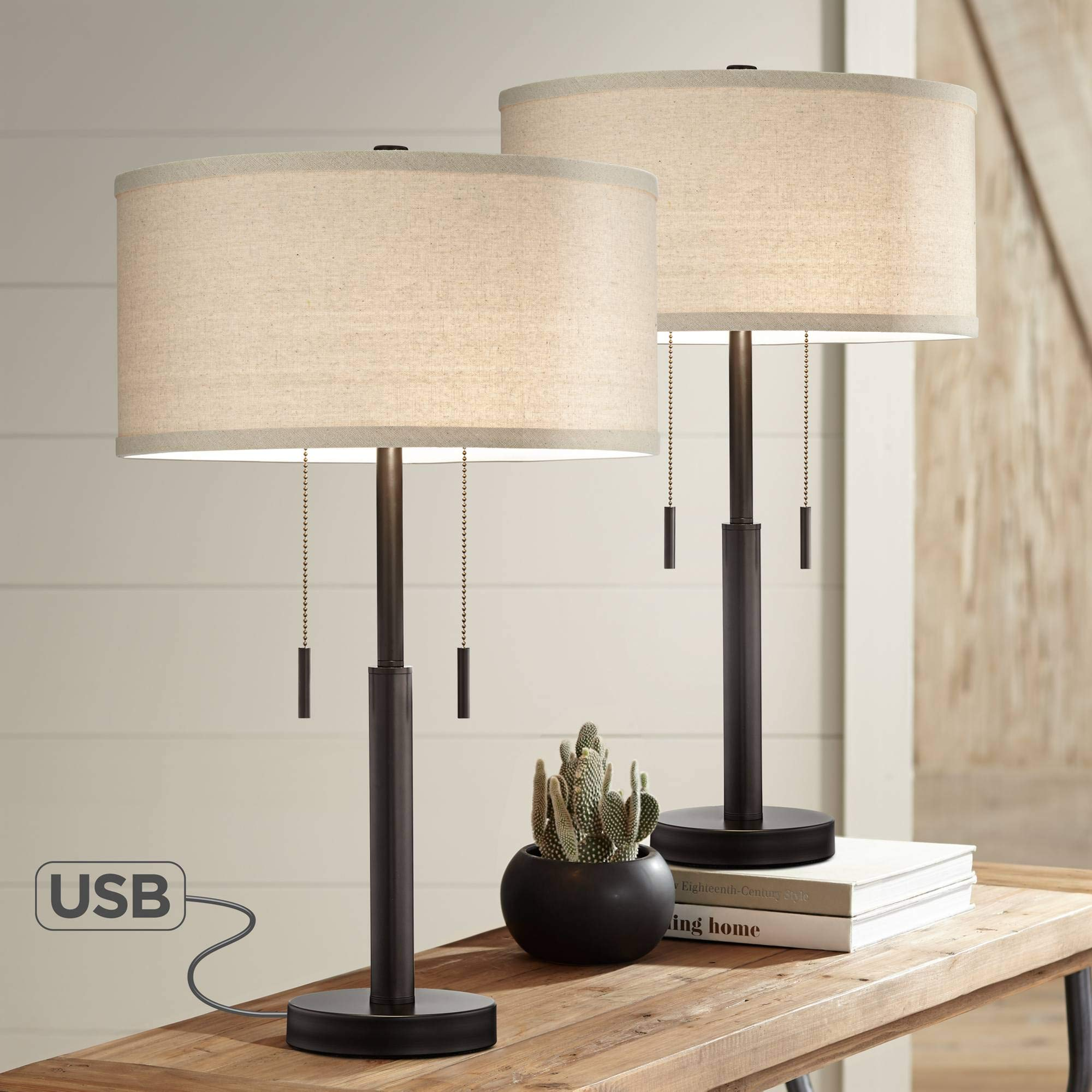Bernie Industrial Table Lamps Set of 2 with Hotel Style USB Charging Port Rich Bronze Drum Shade for Living Room Family Bedroom - Franklin Iron Works