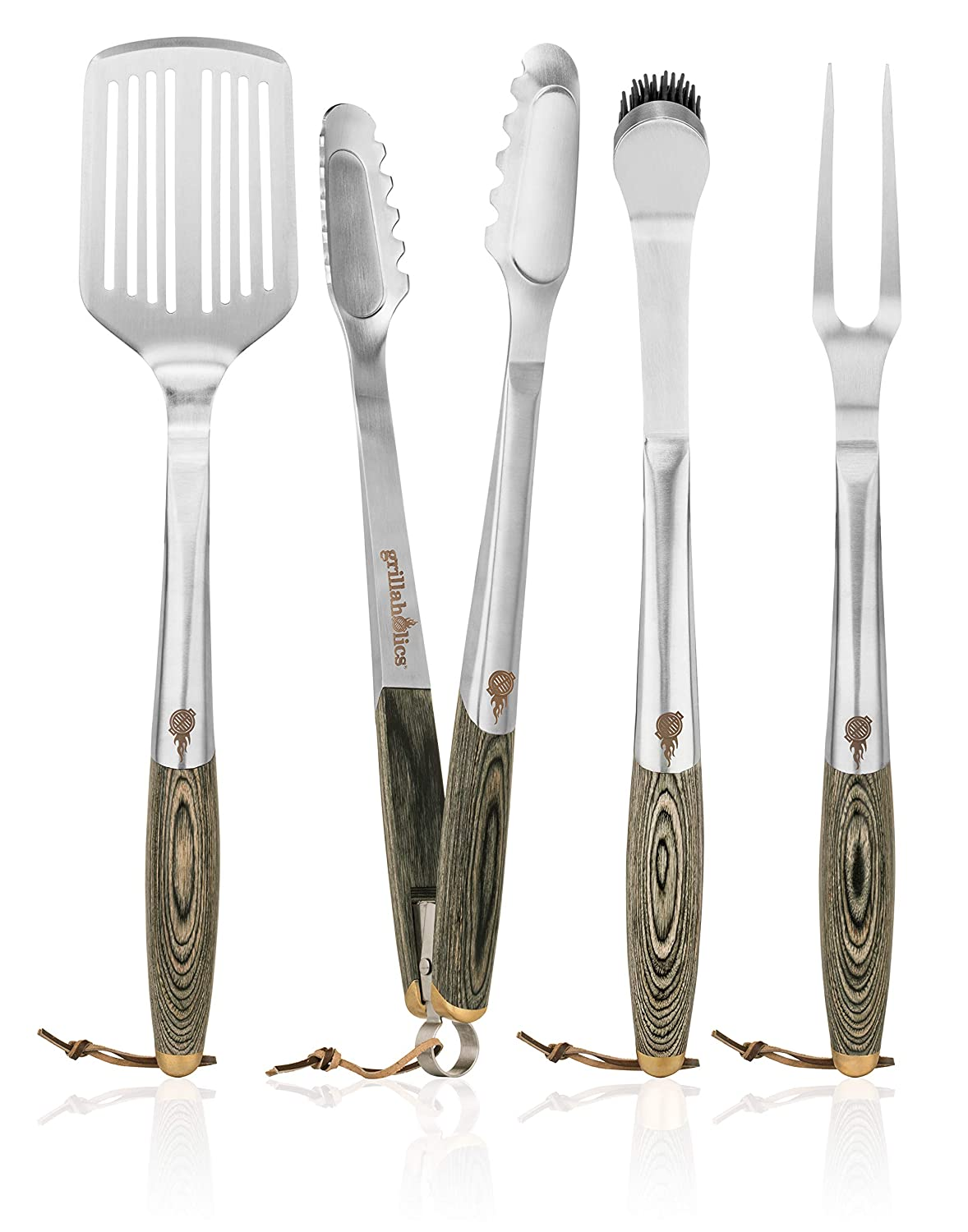 Grillaholics Premium BBQ Grill Tools – Luxury 4-Piece Barbecue Utensils Grill Set – Wooden Gift Box Includes Barbeque Tongs, Meat Fork, Grill Spatula Basting Brush – Lifetime Manufacturers Warranty