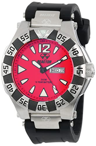 REACTOR Men s 53811 Gamma Stainless Steel Watch with Black Rubber Strap