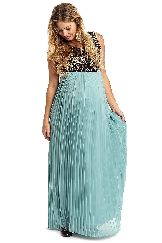 PinkBlush Maternity Pleated Chiffon Lace Top Maxi Dress at Amazon ...