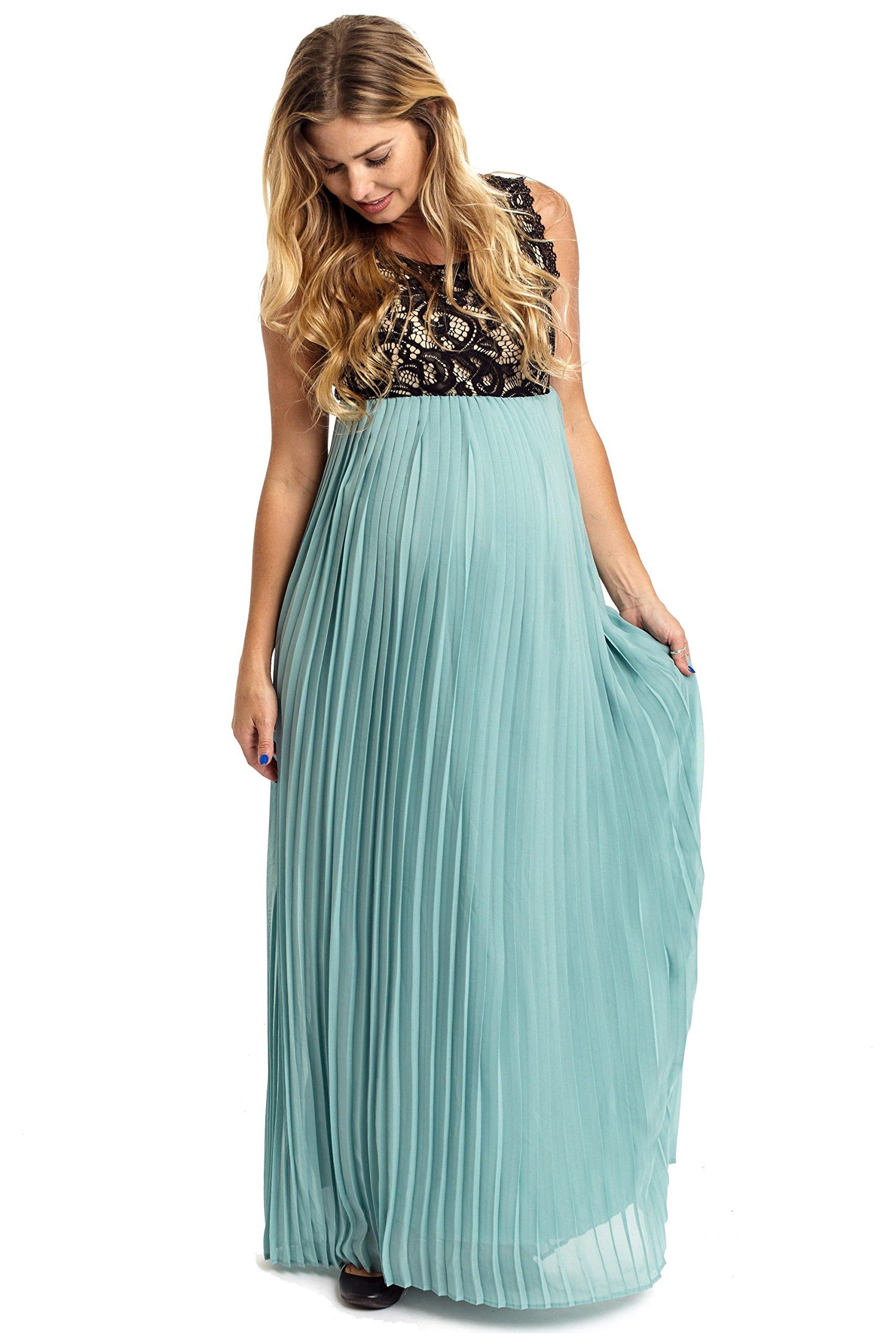 PinkBlush Maternity Dusty Aqua Pleated Chiffon Lace Top Maxi Dress, Small