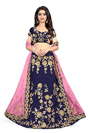 3bf9fbf5c51 Image Unavailable. Image not available for. Colour  Globalia Creation Women s  Silk Embroidered Semi Stitched Lehenga Choli ...