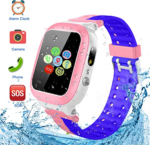 Kids Smartwatch Waterproof with LBS Tracker HD Touch Screen Smart Watch Phone SOS Camera Games Recorder Alarm for Boys Girls Great Gifts