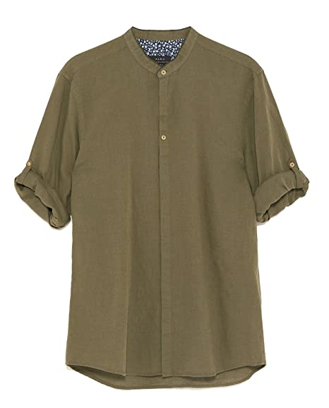 a3219c9250 Zara Men s Shirt with Buttoned Sleeve tabs 7545 329 Green  Amazon.co ...