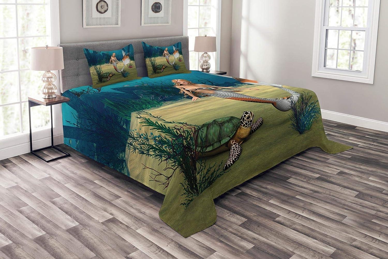 Ambesonne マーメイド ベッドスプレッド デジタルレンダー かわいいマーメイドタートル 海の中のファンタジーワールド 装飾キルトカバーセット 枕カバー付き マルチカラー クイーン bed_9097_queen B07HFBWFS8 マルチ1 クイーン