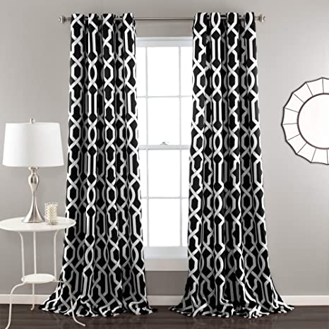 lush decor edward trellis curtains room darkening window panel set for living dining bedroom pair 84 x 52 black