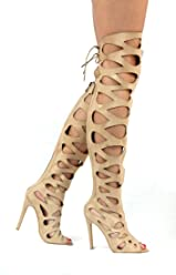 4c0b4d235b5de Static Fashion Womens Strappy Cut Out High Heel Gladiator Sandals with Back  Zip