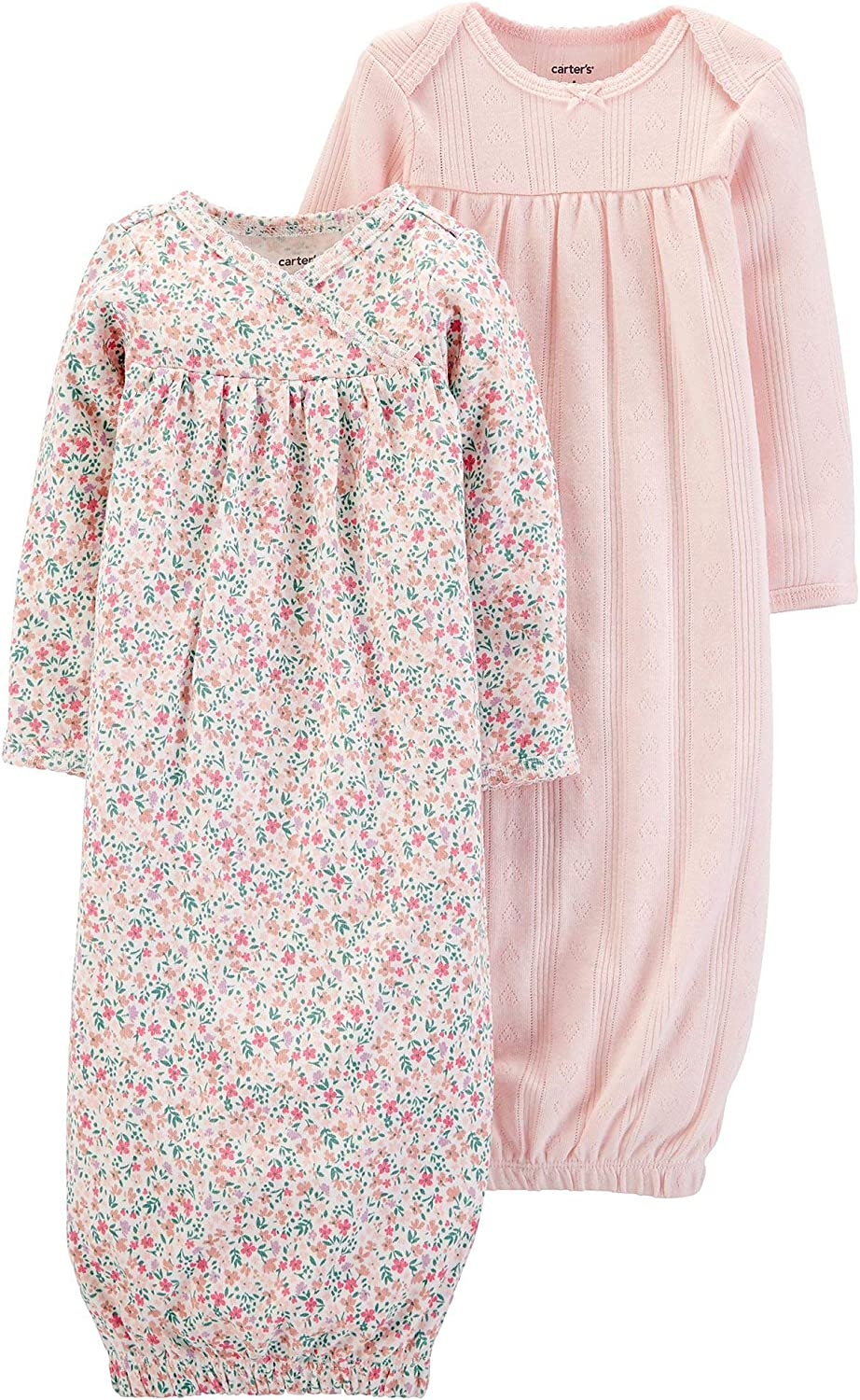 Carter's Baby Girls' 2-Pack Sleeper Gowns Pink Floral: Clothing