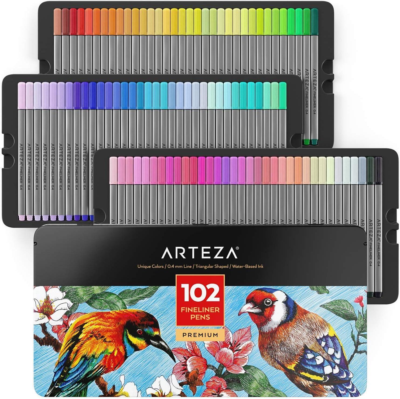 ARTEZA Fineliners - Juego de 72 rotuladores de punta fina con puntas de 0,4 mm y barriles ergonómicos de agarre seguro, colores brillantes surtidos para colorear, dibujar y detalles + almacenamiento d