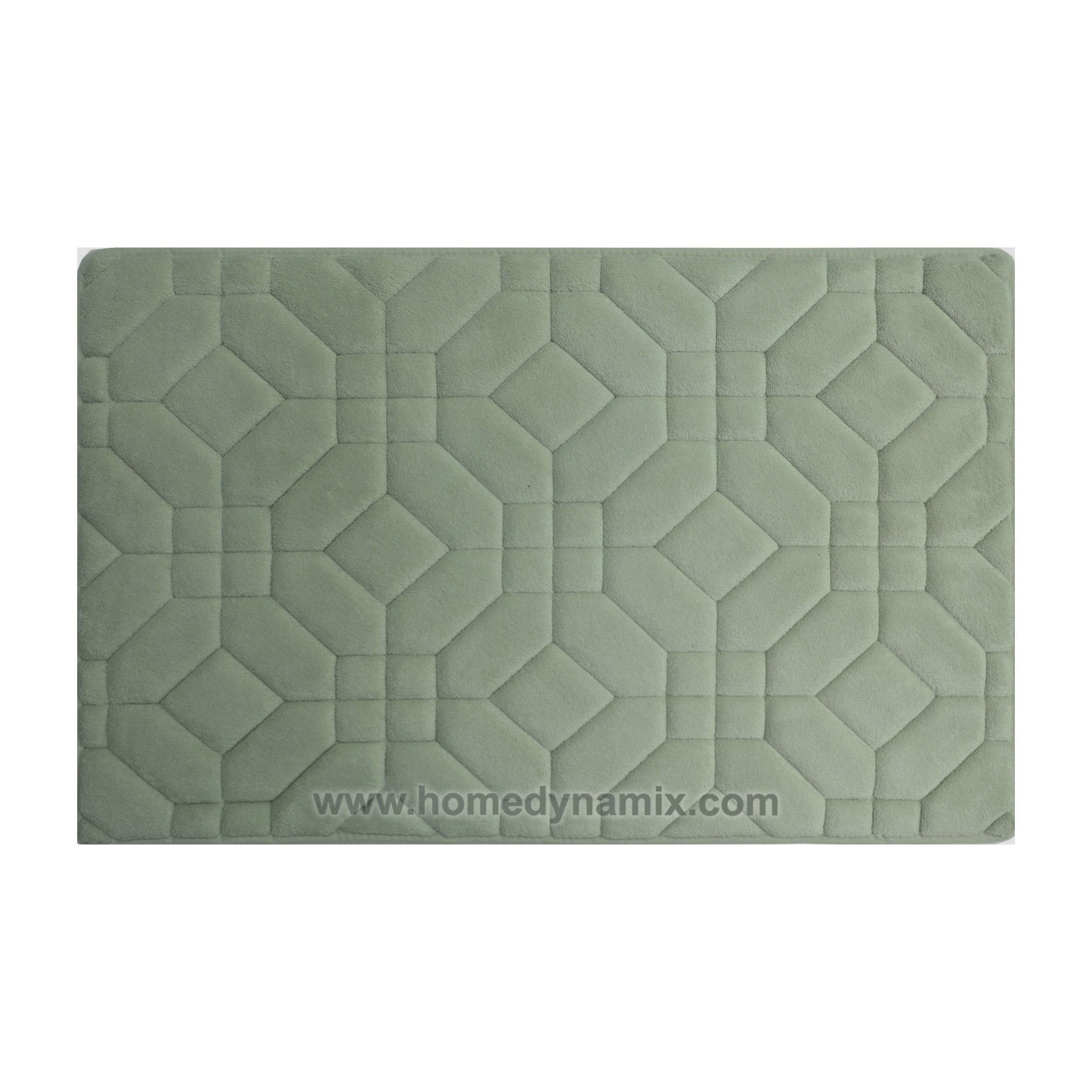 Dusty Mint Green Memory Foam Bathroom Mat/rug : Day Spa Tiles Design, Soft and Absorbent, Non-skid Backing (17'' x 24'' 2-Piece Set)